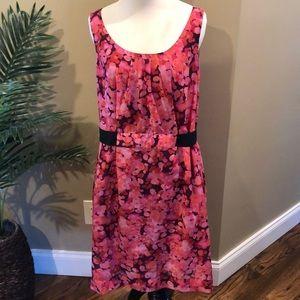 LOFT. Gorgeous pink floral watercolor dress. Sz 12